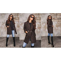 Пальто женское женское прямого покроя ММ-383.1 коричневый