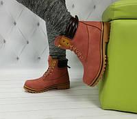 Ботинки в стиле Timberland розовые зима теплые
