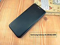 Черная магнитная чехол-книжка для Samsung Galaxy J6 (2018) J600 с визитницей