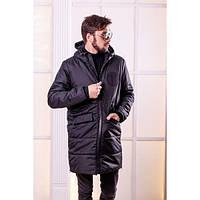 Пальто женское на синтепоне и меху зимнее РО-1115 черный, фото 1