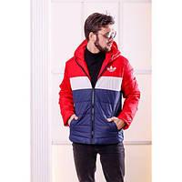 Куртка женская мужская логотип-вышивка РО-1103 синий+красный
