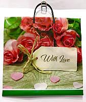 Пакет с пластмассовой ручкой, Цветы, р.35х35см