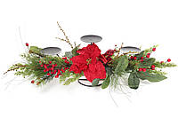 Новогодний подсвечник на три свечи с декором из хвои, цветов и красных ягод, 71см