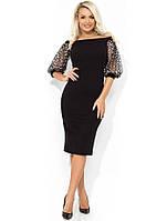 Черное красивое праздничное платье с рукавами-буф Д-509