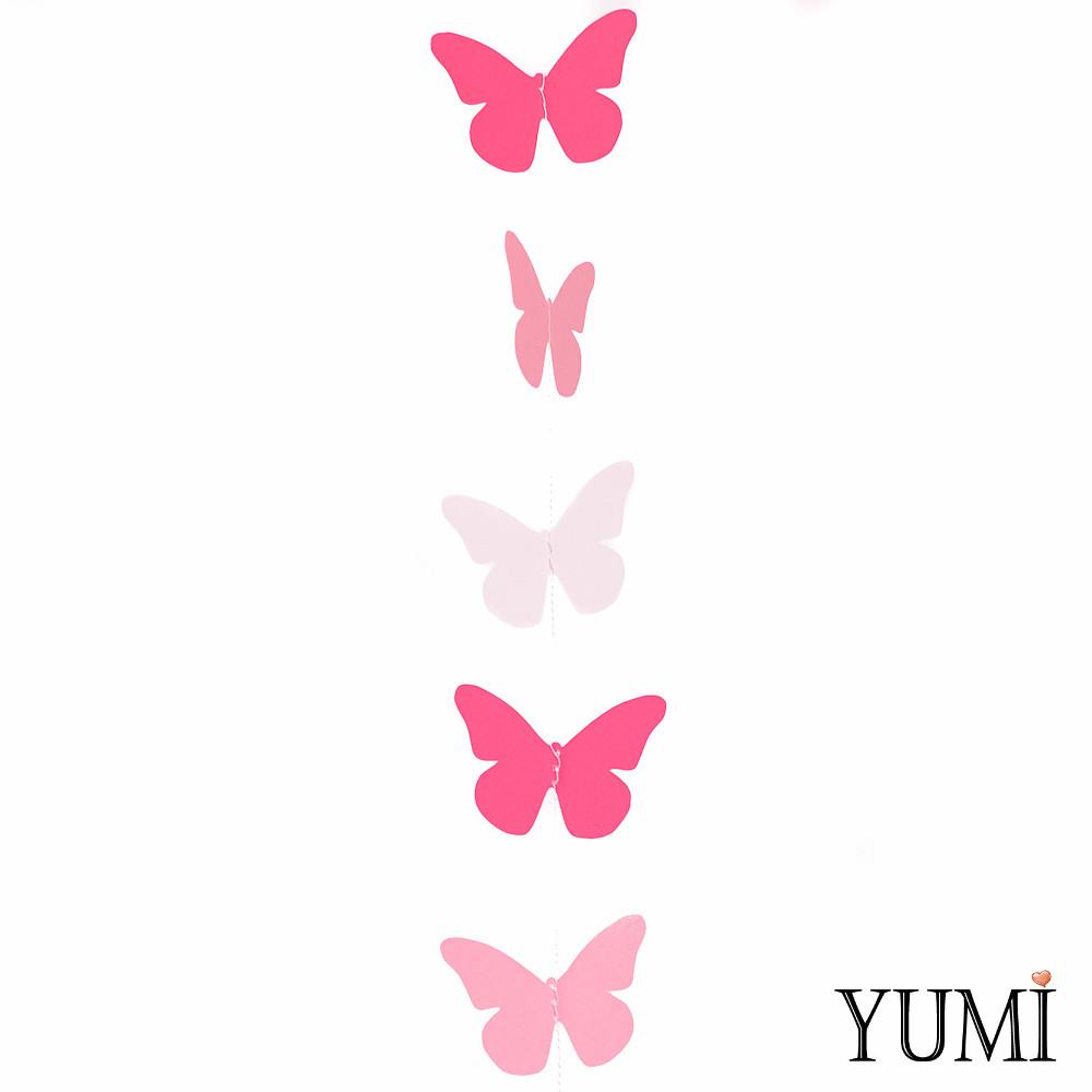 Гирлянда картон плоская малиновые, розовые и белые Бабочки  длина 1,2 м