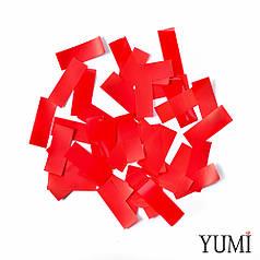Конфетти полоски толстые (метафан) красные