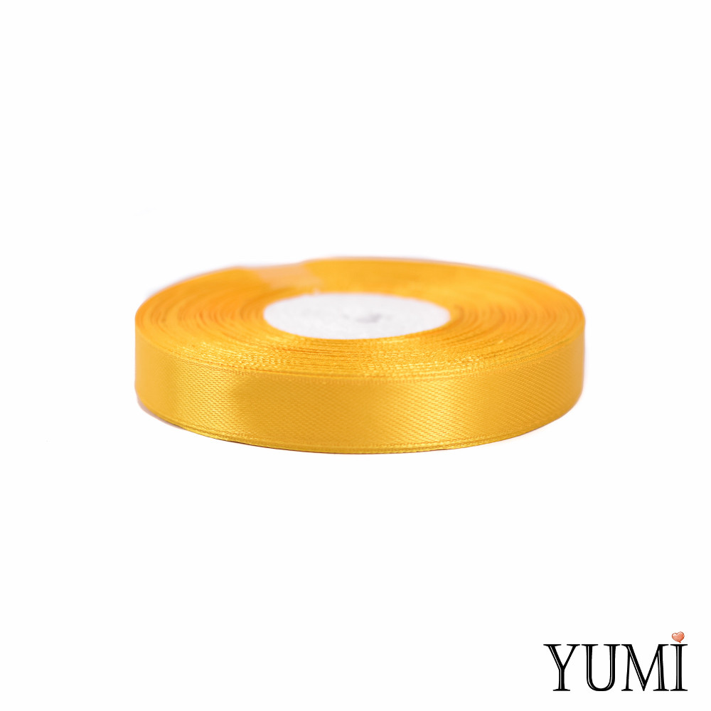 Лента (тесьма) атласная (сатин) 12 мм ЖЕЛТАЯ 8013