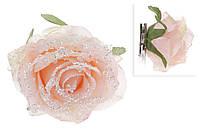 Декоративный цветок Роза на клипсе 15см, светло-розовый во льду