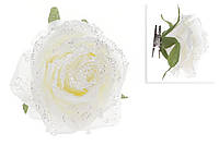 Декоративный цветок Роза на клипсе 15см, белый во льду