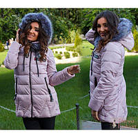 Куртка женская+мех ЦА-025 розовый