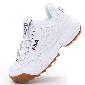 Женские кроссовки белые с коричневой подошвой Fila Disruptor 2.Топ качество!