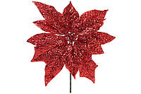 Декоративный цветок Пуансеттия 22.5см, цвет - красный