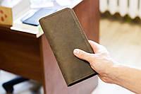 Кожаный мужской кошелек портмоне из натуральной кожи ручной работы Revier коричневый для денег и телефона, фото 1