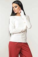 Модна кофта з довгим рукавом з трикотажу меланж 42-52 розміри біла, фото 1
