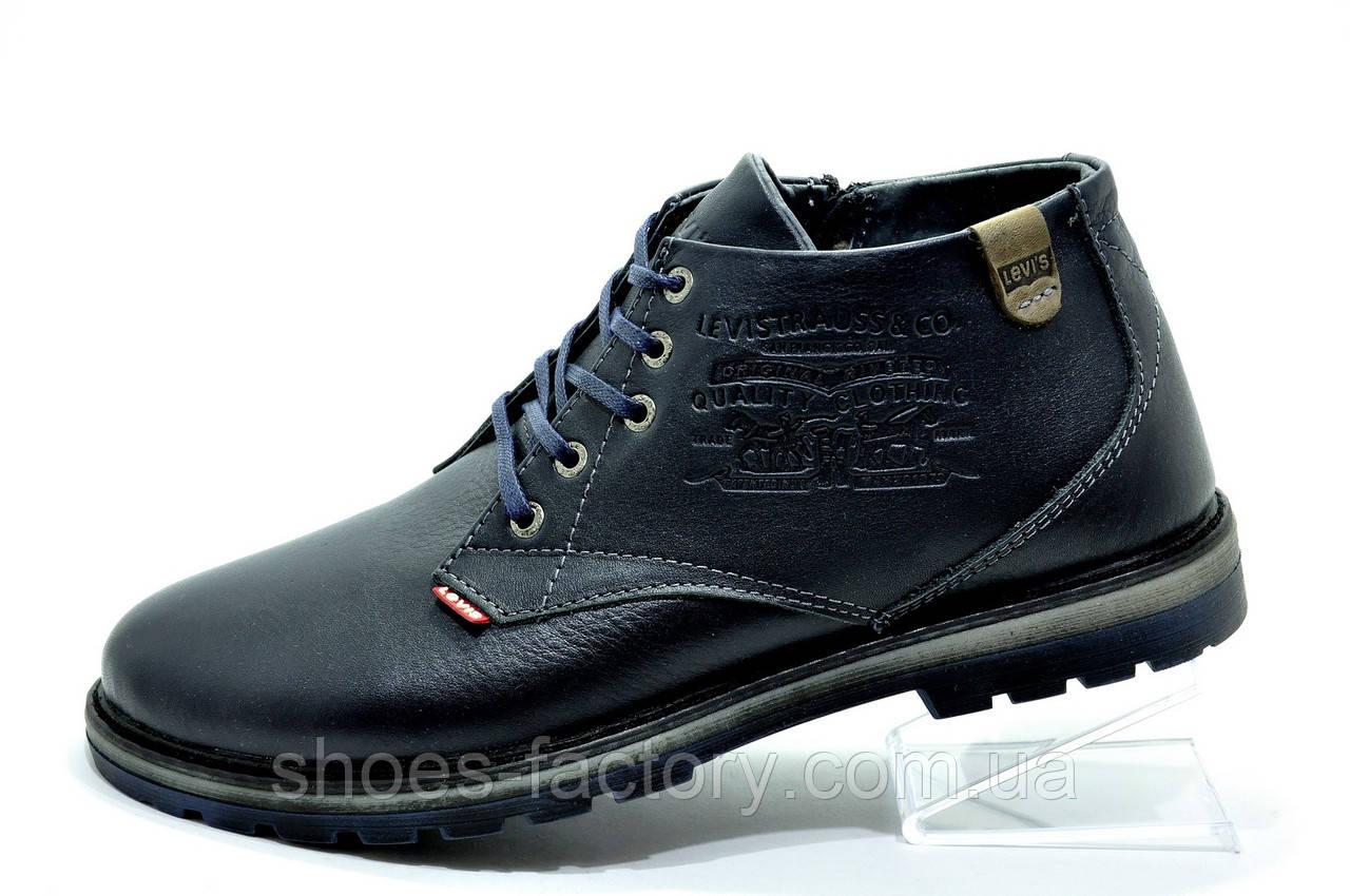 Ботинки мужские в стиле Levi's, Зимние (Темно-синие)