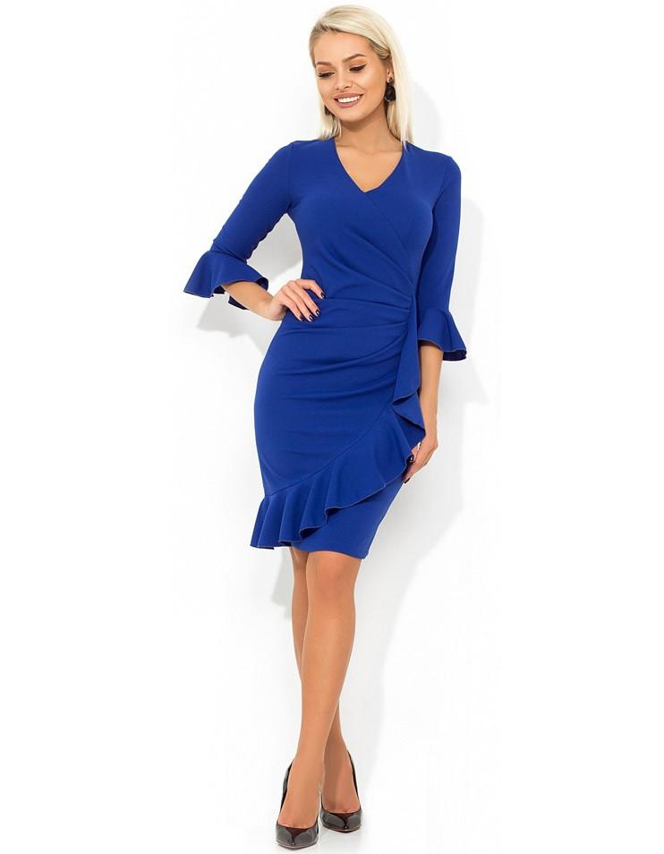 Синее праздничное платье с оборкой Д-486