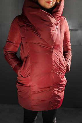 Женская модная стильная куртка/пальто с капюшоном,бардовая , фото 2