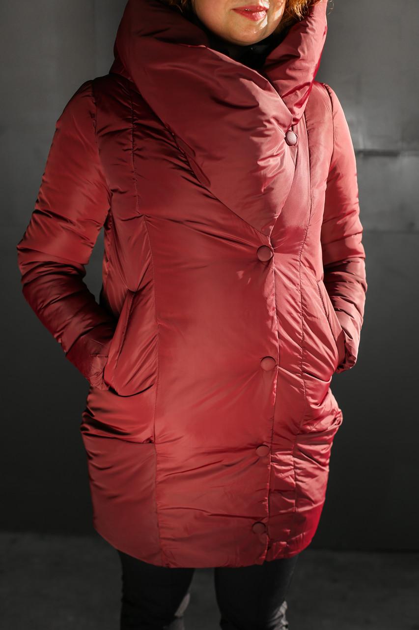 Женская модная стильная куртка/пальто с капюшоном,бардовая