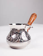 Велика металева турка-кавоварка (металлическая турка) (450 мл) з дерев'яною зйомною ручкою №58.