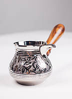 Кофейная турка 300 мл. Металева турка-кавоварка з дерев'яною зйомною ручкою №50.