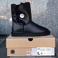 Натуральні уггі UGG Australia (Репліка ААА+) Bailey Button Black Leather Jewel. Model: 5803, фото 1