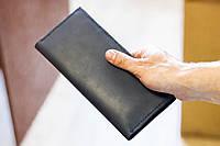 Кожаный мужской кошелек портмоне из натуральной кожи ручной работы Revier синий для денег и телефона