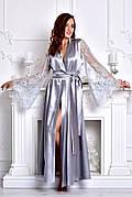 Красивый длинный халат атласный с кружевными рукавами Серый (Серебро). Размеры от XS до XXXL