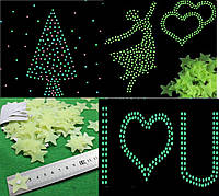 Набор светящихся звезд для декора. Фосфорные звезды 100шт., фото 1