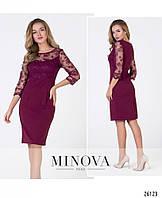 Нарядна сукня з креп-трикотажу, прикрашена вишитою сіткою, фото 1