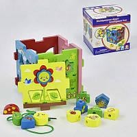 Пазл-сортер C29478 деревянная обучающая игра со шнуровкой геометрические фигуры с отверстиями в коробке