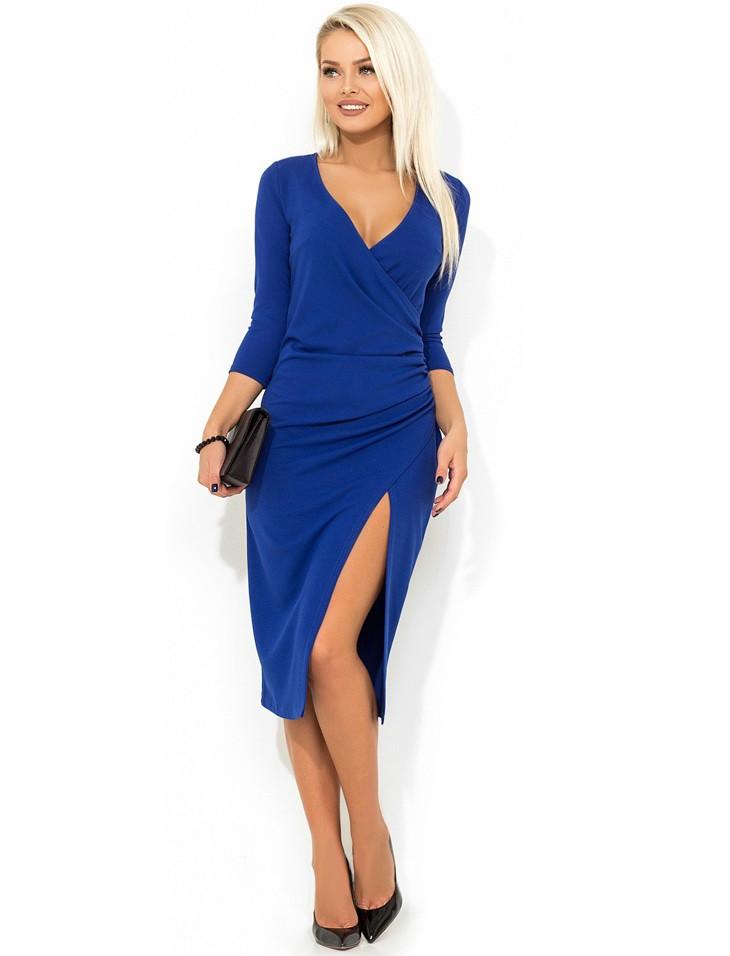 Красивое синее платье с имитацией запаха Д-470