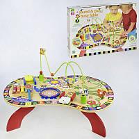 Деревянный детский столик Бизиборд с играми и головоломками ксилофон шестеренки лабиринт для пальчика