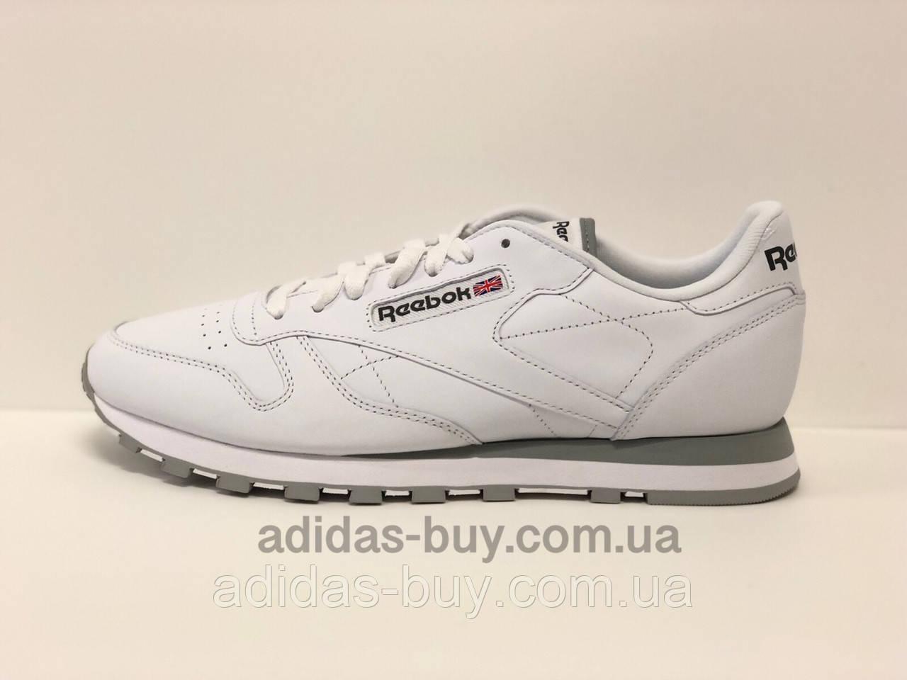Мужские кожаные оригинальные кроссовки Reebok Classic Leather 2214 цвет: белый/серый