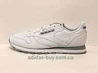 Мужские кожаные оригинальные кроссовки Reebok Classic Leather 2214 цвет: белый/серый, фото 1