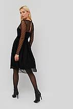 Женское черное платье с сеткой в горох (Marea crd), фото 3