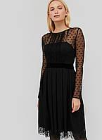 Женское черное платье с сеткой в горох (Marea crd)