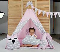 Вигвам Хатка комплект Нежность Розовый с серым (облака) с подушками