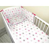 Комплект в кроватку Хатка 6 в 1 Золушка белый со звездами