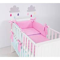 Комплект в кроватку Хатка 6 в 1 для девочки розовый