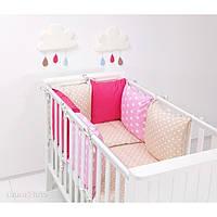 Комплект в кроватку Хатка 9 в 1 для девочки бежевый с розовым