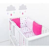 Комплект в кроватку Хатка 9 в 1 для девочки розовый со звездами
