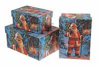 """Новогодняя подарочная упаковка """"Веселый Санта"""" прямоугольная"""