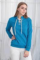 "Батник со шнурком ""Twist""| Распродажа модели 46-48, голубой"