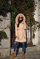 Женское теплое пальто из кашемира с шерстью с натуральным мехом tez6002130