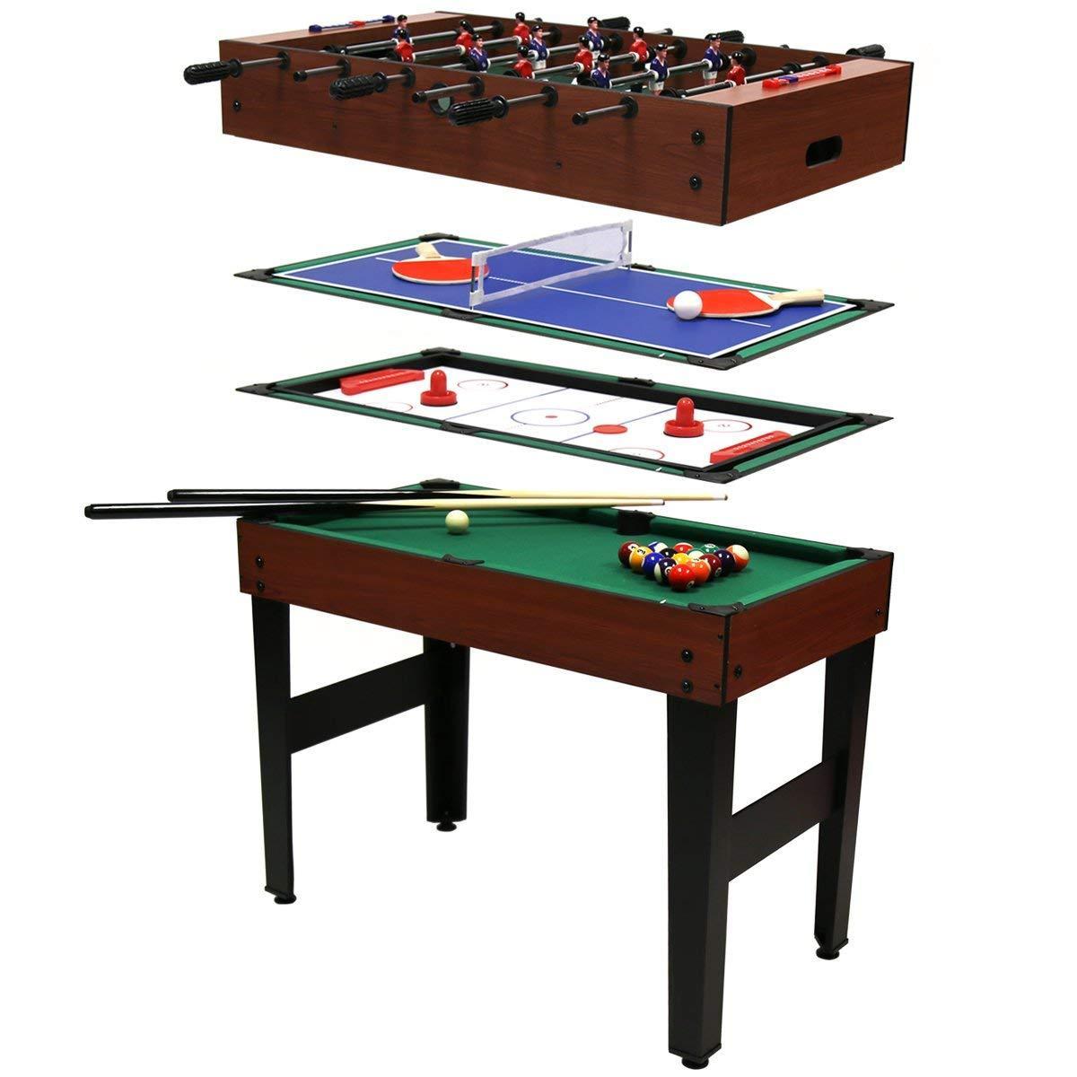 Игровой стол Super Fun 4 В 1 - Аэрохоккей, Настольный футбол, Мини бильярд