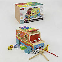 Машина-каталка деревянная игрушка с сортером и ксилофоном фигурки животных