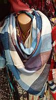 Женский шерстяной платок на осень в клетку., фото 1