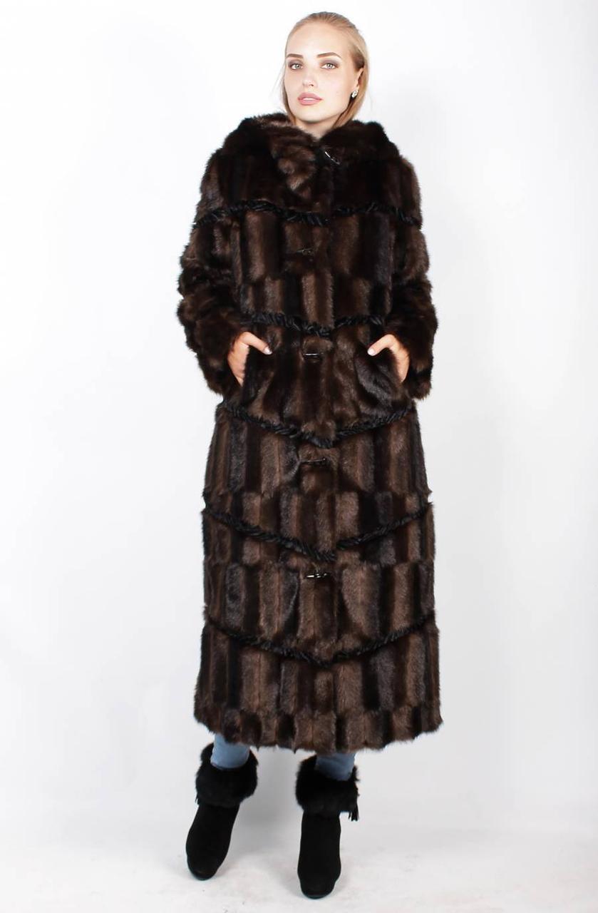 Длинная шуба-трапеция, коричневая норка(паркет) 42,44,46,48,50,52,54,56