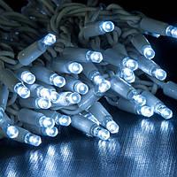 Уличная Гирлянда светодиодная нить, 10 м, 100 led белый каучуковый провод - цвет белый холодный
