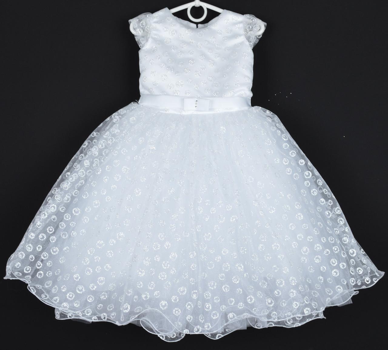 """Платье нарядное детское """"Горошек"""" с рукавчиком 4-5 лет. Белый принт. Купить оптом и в розницу"""